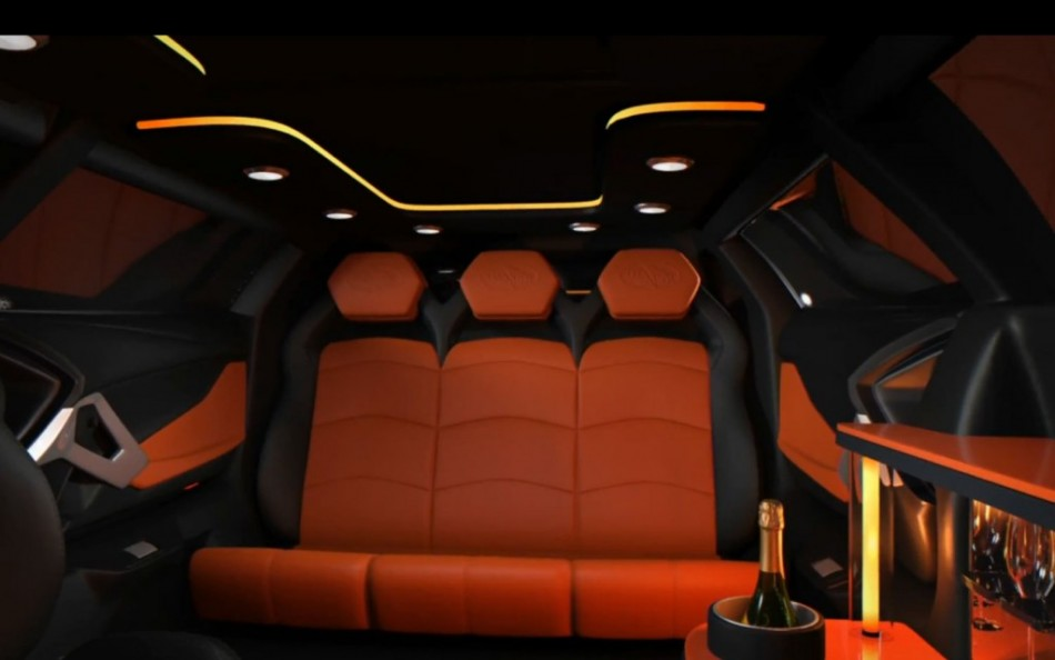 Lamborghini Limo One Off Stretch Aventador Features Champagne Bar