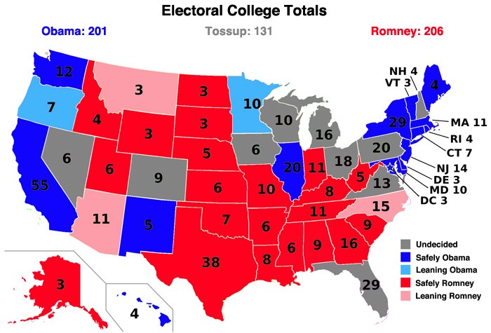 Map Of Us Electoral College Votes.Us Electoral College Map 2012 State By State Obama Romney Hoping