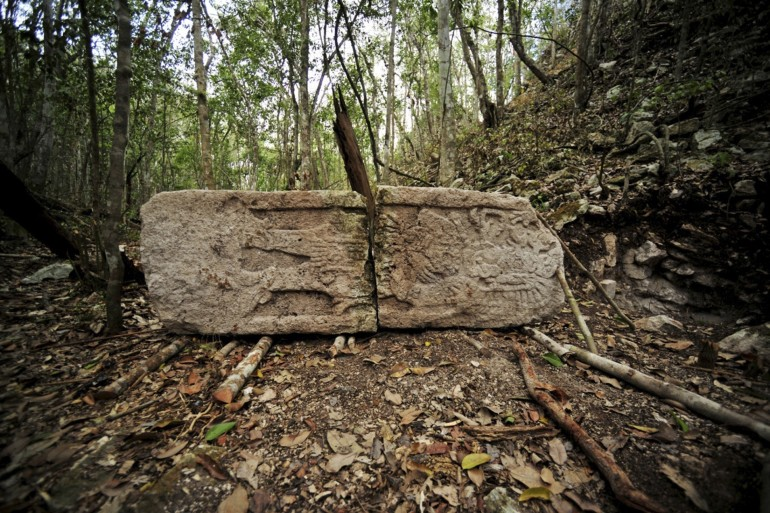 A sculpted stone shaft called stelae is pictured at the newly discovered ancient Maya city Chactun in Yucatan peninsula.