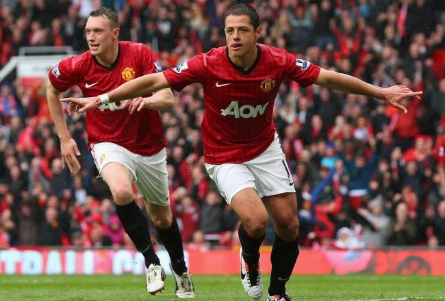 Chicharito in his first official game with Manchester United in 2010.