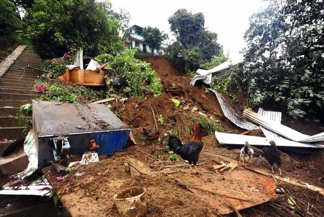 A house destroyed by a mudslide caused by Tropical Storm Arlene in Veracruz, Mexico, in 2011.