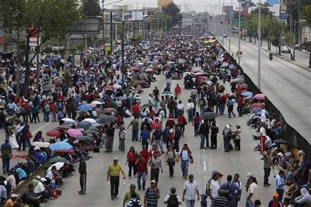 Teachers blocked the highway to Mexico City's international airport to protest the education reforms last week.
