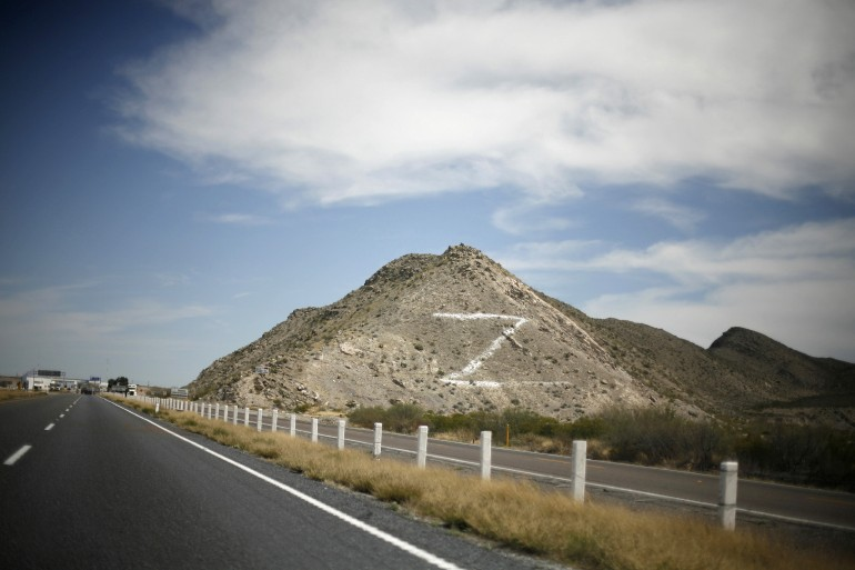 """The letter """"Z"""", for Zetas, is seen painted on a hill between Monterrey and Torreon, in the Mexican state of Coahuila in 2010."""