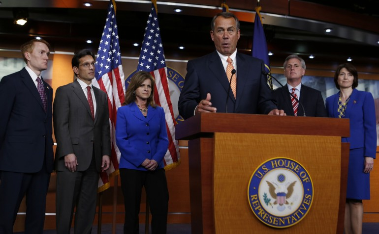 Speaker of the House John Boehner (R-Ohio) speaks at a press conference with members of the House Republican Conference in March.