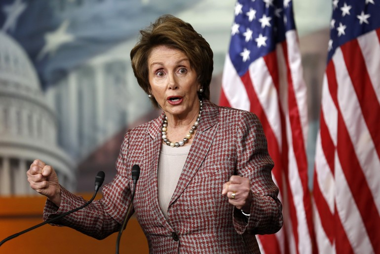 House Minority Leader Nancy Pelosi speaks to reporters at the Capitol in Washington in March.