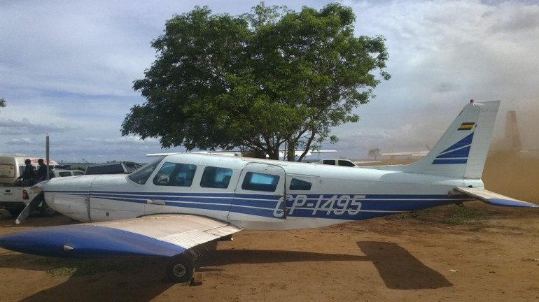 An airplane belonging to a cocaine smuggling gang confiscated in a raid along the Paraguayan border with Brazil in November.