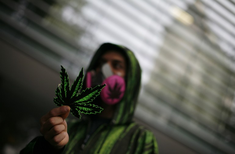 A protester shows a fake marijuana leaf during a May protest in Mexico City.