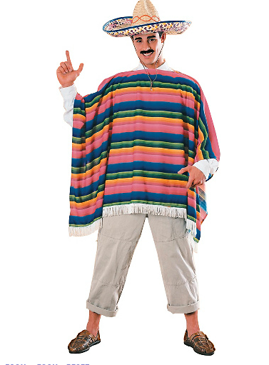 """Adult Mexican Sombrero and Serape Costume"""
