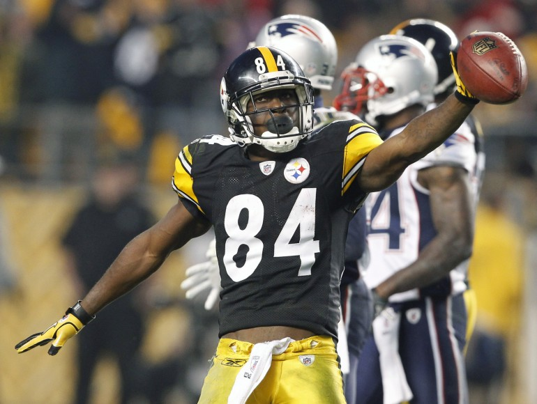 Pittsburgh Steelers Antonio Brown celebrates a first down against the New England Patriots in 2011.