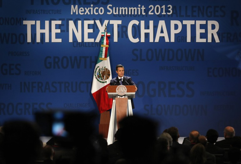 Mexico's President Enrique Pena Nieto addresses the audience during The Economist's Mexico Summit 2013 in Mexico City November 7, 2013.