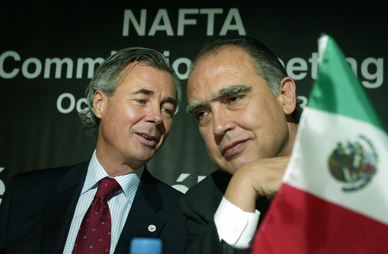 Canadian and Mexican economic ministers at a NAFTA commission.