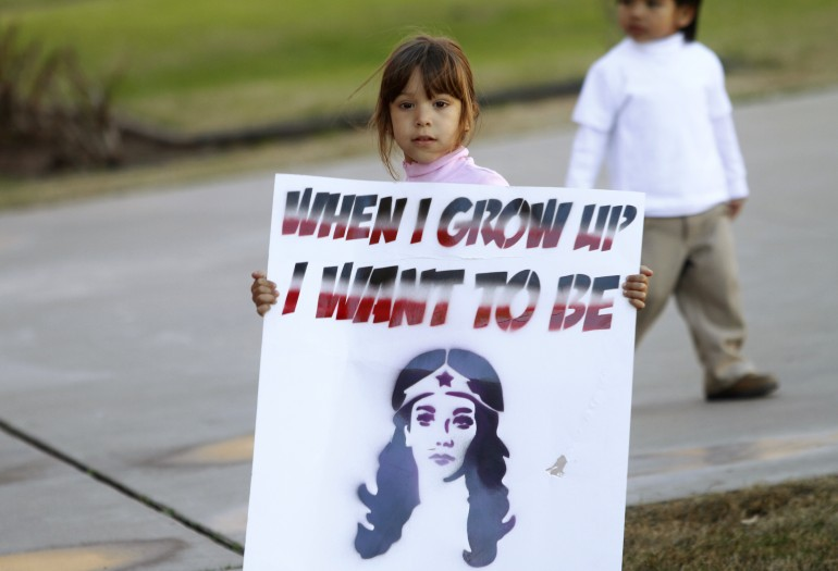 A girl at a 2011 immigration protest in Arizona.