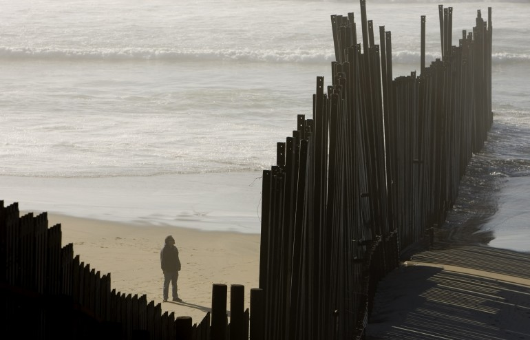 US-Mexico border fence in San Diego.
