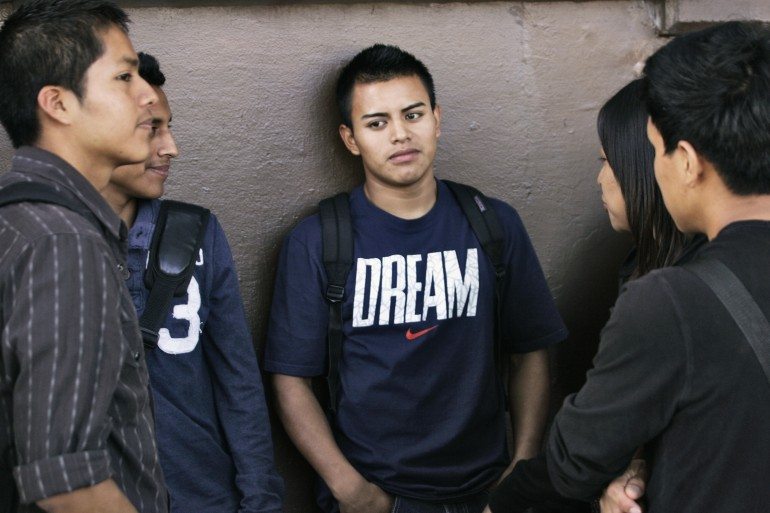 Dreamers in line for help with DACA applications.
