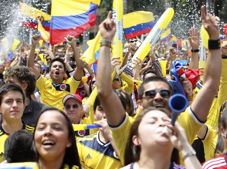 Colombians celebrating