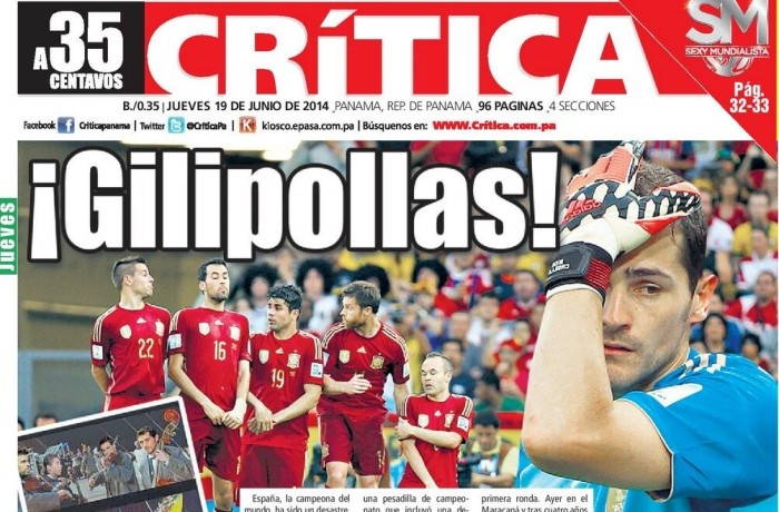 World Cup 2014 Panamas Crítica Newspaper Uses Offensive