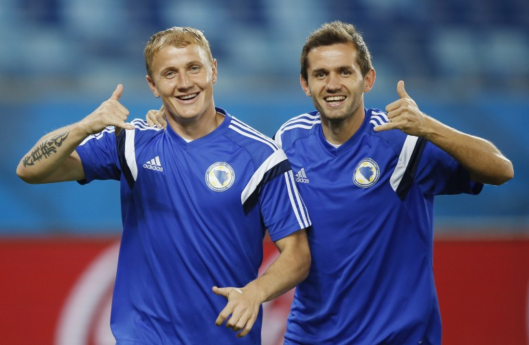 Bosnia-Herzegovina players before their match on Saturday, June 21st.