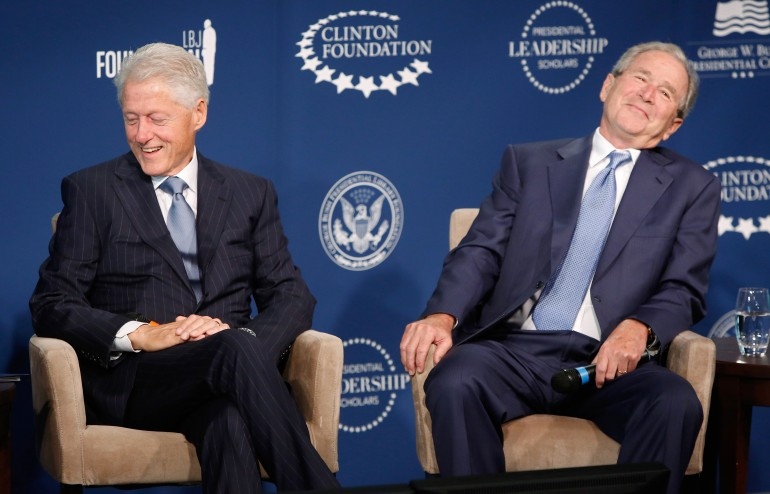 Former Presidents, Bill Clinton and George Bush