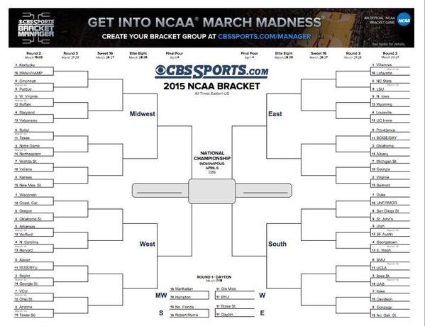 ncaa tournament 2015 printable bracket schedule live stream and