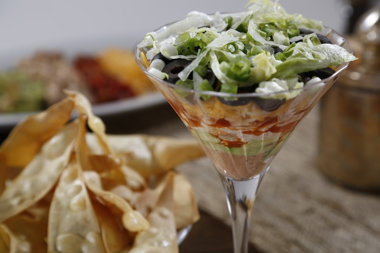 Lasagna Pasta Chips with Seven-Layer Dip