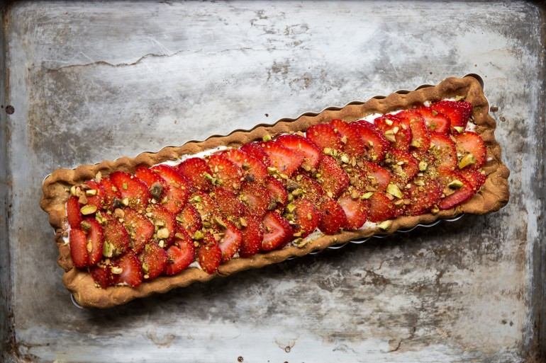 Strawberry Pistachio Cream Tart