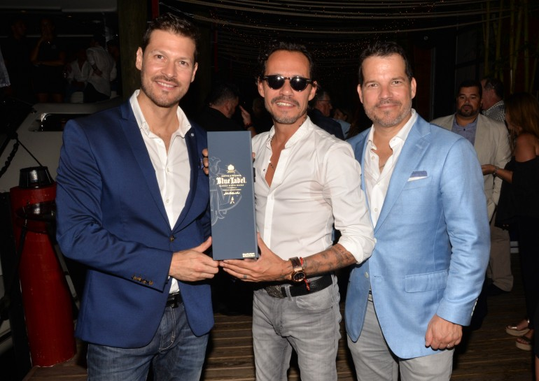 Felipe Pimiento (COO Magnus), Marc Anthony, Michel Vega (CEO Magnus) Celebrating with Johnnie Walker Blue Label at the Magnus All-Star Bash, July 12, 2017