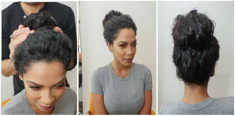 Look 1:Chignon with natural texture