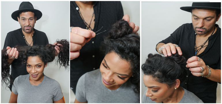 Look 3: Buns with Natural Curls