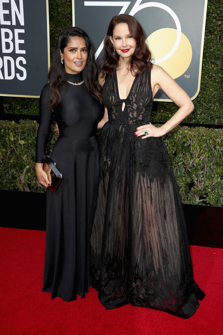 Golden Globes 2018 Red Carpet Photos: Salma Hayek, Ashley Judd