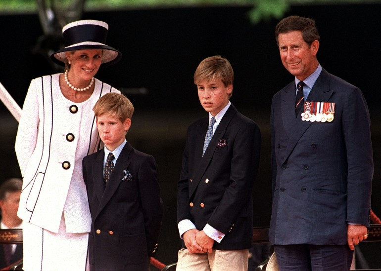 Princess Diana, Prince Harry, Prince William and Prince Charles