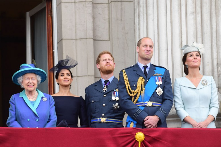 Queen Elizabeth, Meghan Markle, Prince Harry, Prince William and Kate Middleton