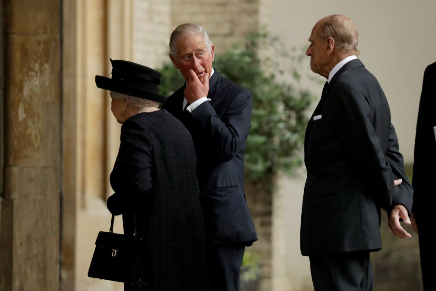 Queen Elizabeth, Prince Charles and Prince Philip