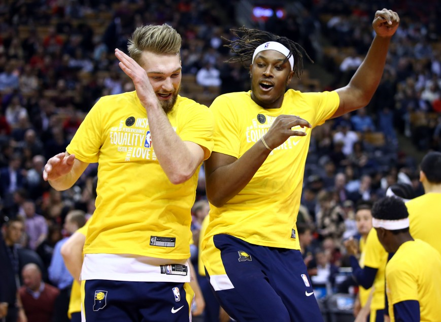 Domantas Sabonis #11 and Myles Turner #33 of the Indiana Pacers