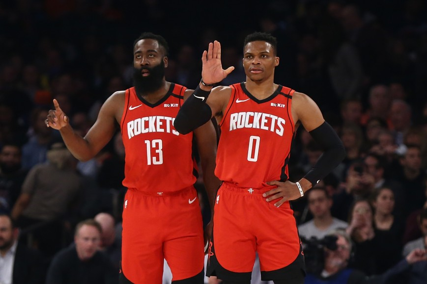 James Harden #13 and Russell Westbrook #0 of the Houston Rockets