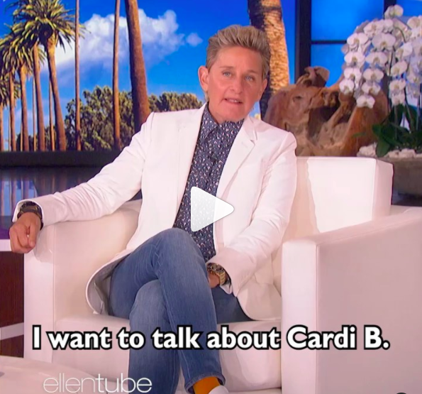 Ellen DeGeneres discussed about Cardi B's nude pic that surfaced online last week.