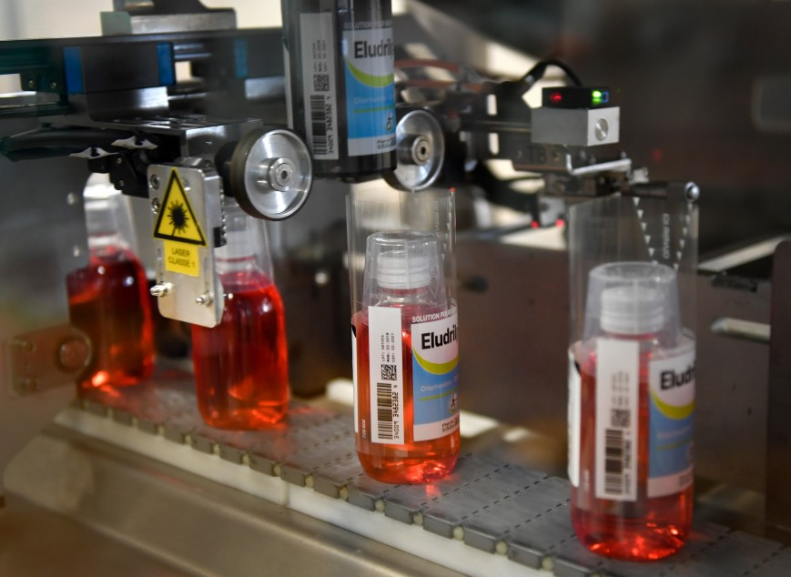 "Eludril mouthwash are seen on the production line at the plant of French multinational pharmaceutical company ""Pierre Fabre"", in Gien"