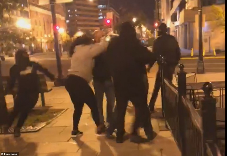 A video footage surfaced on social media that shows a group of people fighting right before the stabbing takes place.