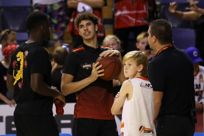 Injured Hawks player Lamelo Ball is seen on court after the round 15 NBL match between the Illawarra Hawks and the Perth Wildcats