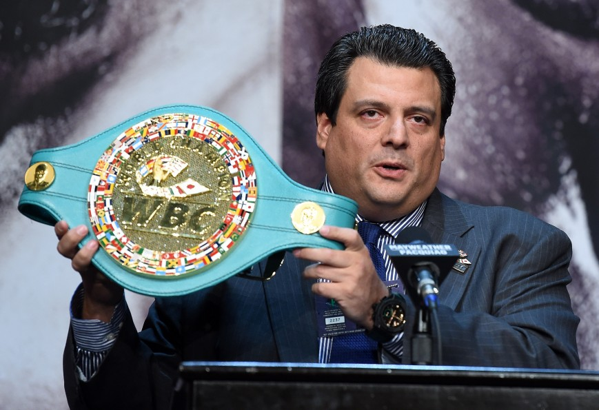 WBC President Mauricio Sulaiman displays a championship belt during a news conference for the unification fight between WBC/WBA welterweight champion Floyd Mayweather Jr. and WBO welterweight champion Manny Pacquiao