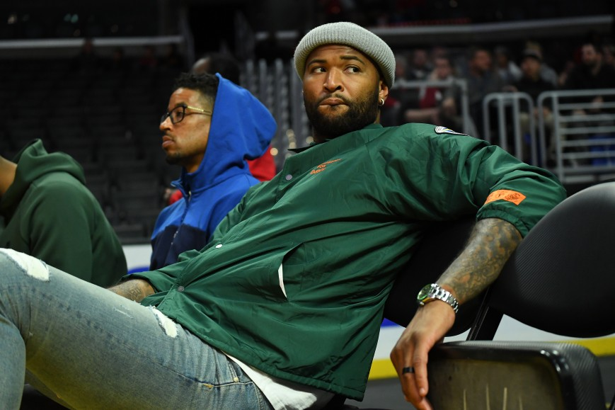 Los Angeles Lakers DeMarcus Cousins attends the game between the USC Trojans and the LSU Tigers