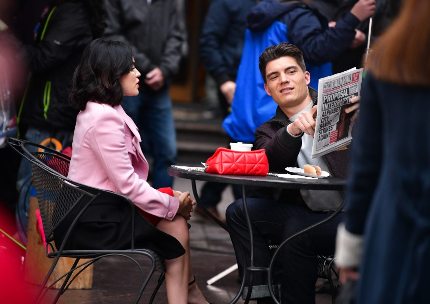 Lucy Hale and Zane Holtz seen on location for 'Katy Keene'