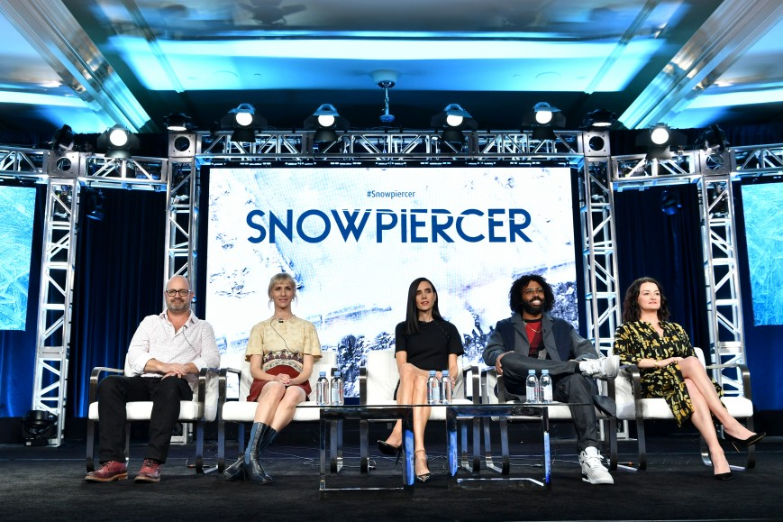 (L-R) Graeme Manson, Mickey Sumner, Jennifer Connelly, Daveed Diggs and Alison Wright of 'Snowpiercer'