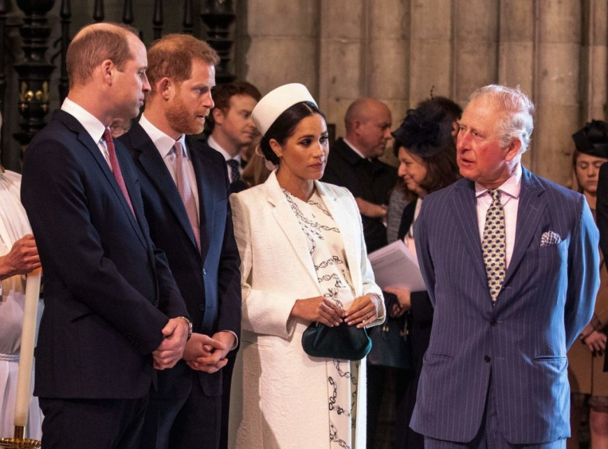 Prince Charles with Prince William, Prince Harry and Meghan Markle