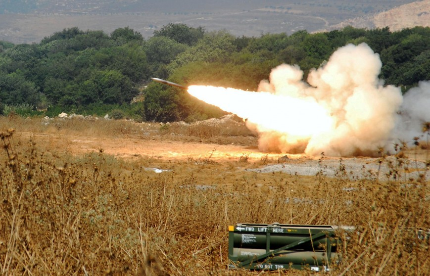A rocket fired by a Multiple Launch Rocket System (MLRS) is launched against an Hezbollah target in South Lebanon July 16, 2006 from a forward base on the outskirts of the northern Israeli community of Bar Am.