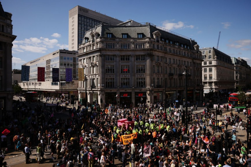 Extinction Rebellion protesters gather at Oxford Circus to protest against climate change