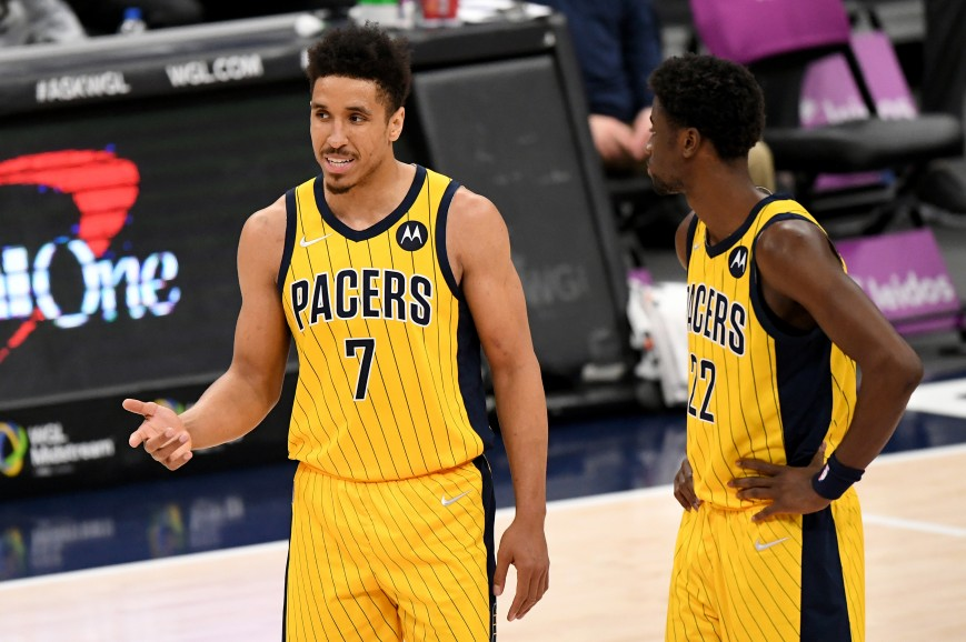 Malcolm Brogdon #7 and Caris LeVert #22 of the Indiana Pacers