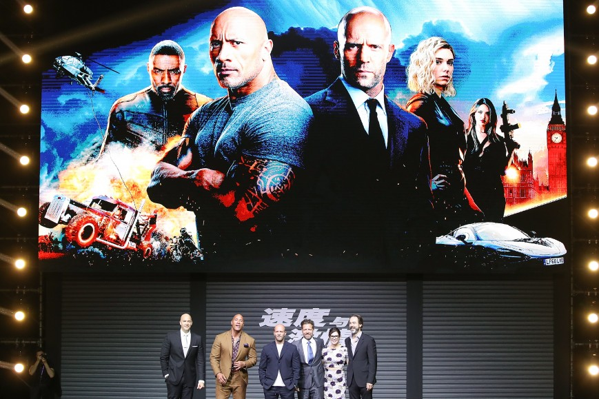 """Producer Hiram Garcia, Dwayne Johnson, Jason Statham, Director David Leitch, Kelly McCormick and Screenwriter Chris Morgan attends the """"Fast & Furious: Hobbs & Shaw"""" fans Meeting and China Press Conference"""