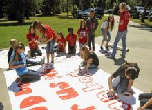 Kountze High School cheerleaders making banners