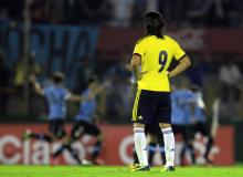 Colombia's Radamel Falcao watches