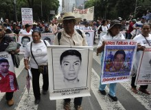 Mexican students and relatives protesting